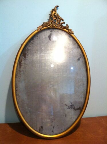 """Large 19"""" Antique Metal Domed Curved Glass Picture Frame"""