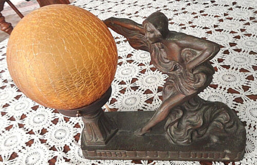 Art Deco Draped Nude Lady Spelter Metal Table Lamp ~ Works Perfect ~ Beautiful