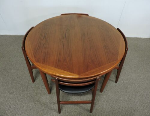 VEJLE STOLE DANISH MODERN ROUND TEAK EXTENDABLE DINING TABLE