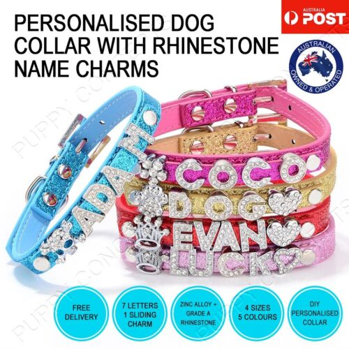 DIY Personalised Leather Collar Pet Dog Cat Puppy Kitten Bling Gloss Name Charm <br/> OVER 1900+ SOLD! MELBOURNE STOCK! TRUSTED AU SELLER! 🐶