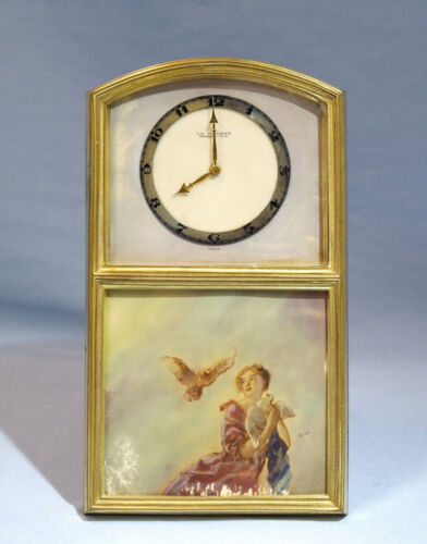 Swiss Gilt Bronze Mechanical Easel Clock Painted Plaque Girl & Doves LA Violeta