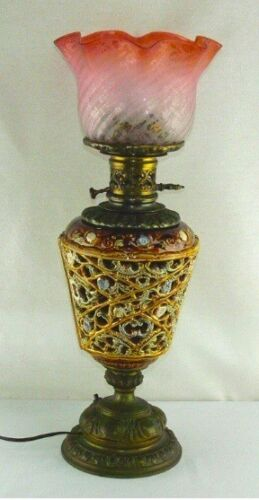 Antique Reticulated Majolica Electrified Oil Table Lamp Glass Shade circa 1880
