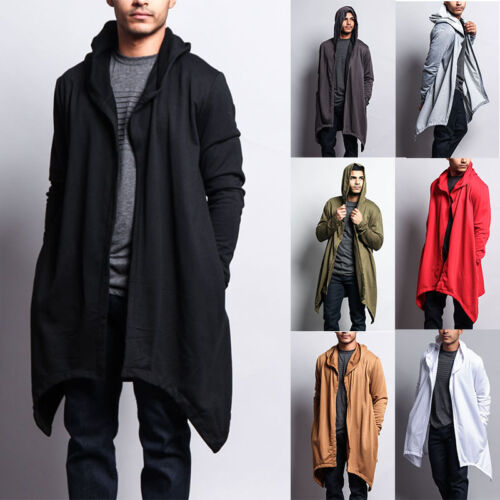 Victorious Men's Long Length Drape Cape Cardigan Hoodie Sweater JK701 - J7A