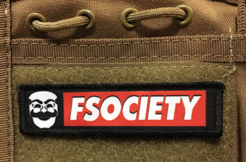 1x4 FSociety Mr Robot Morale Patch Tactical ARMY Hook Military USA Badge FlagArmy - 48824