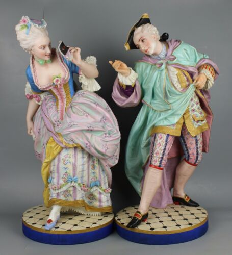 "Huge 24"" Vion & Baury pair of figurines ""Masquerade"" WorldWide"