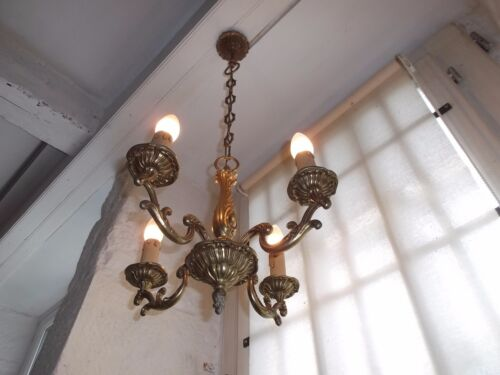 French  vintage 4 light chandelier  patina bronze classic style