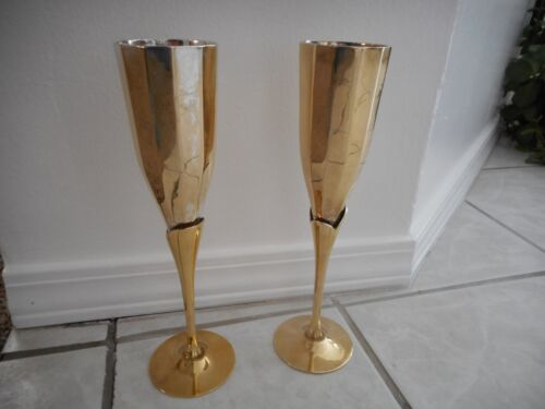 Vintage Set of 2 Brass & Silver Plated Tulip Goblets Wine Cup Made in India