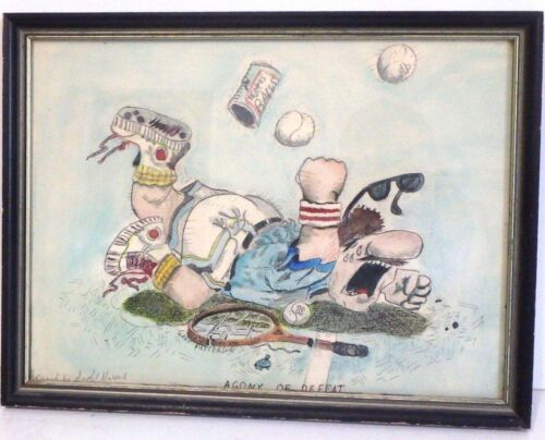 Framed Drawing Copied by Andy Marcus of Gary Patterson Agony Of Defeat Tennis Pr