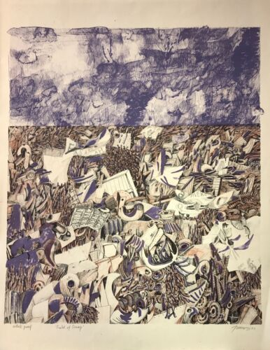 """""""Field of Scraps"""" 1963 (artist's proof) lithograph by Antonio Frasconi"""