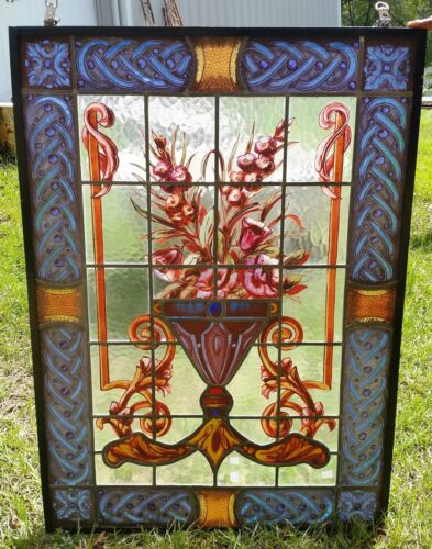 """Beautiful Bouquet Antique Leaded and Stained Glass Window H41 x W29"""""""