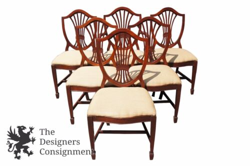 6 Hepplewhite Style Shield Back Dining Chairs Mahogany Upholstered Seat Mid Cent