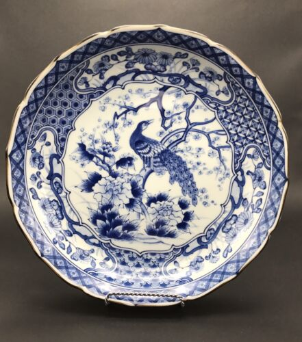 OLD CHINESE OR JAPANESE LARGE BLUE AND WHITE PORCELAIN-GLAZED CHARGER, SIGNED