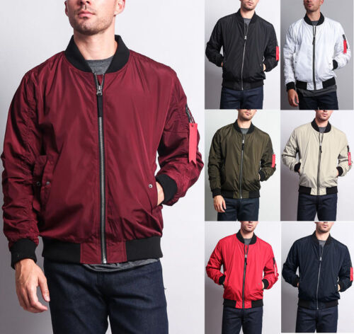 New Men's Light Weight Bomber Jacket Flight Military Air Force MA-1 JK752-I8D