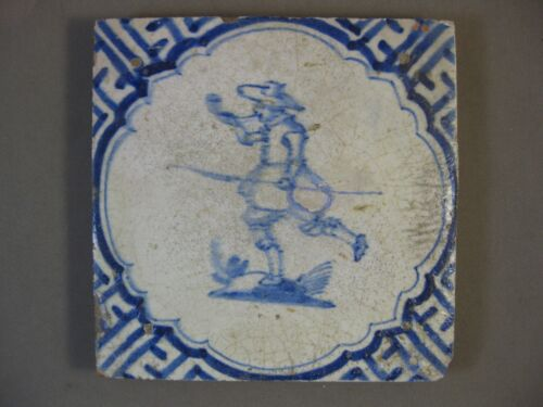 Antique Dutch Delft tile soldier with spear rare 17th century -- free shipping