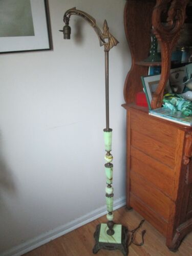 Vintage Art Deco Jadeite ~ Slag Glass Bridge Floor Lamp Ornate Base & Top
