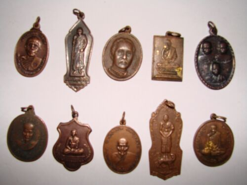 10 Pc Collection of Thai Buddhist Buddha Monk/Amulet/Pendant/Necklace/Ring/Coin