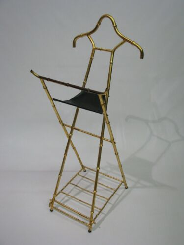 Scarce 1960's High Style Faux Bamboo all Metal Valet with original Gilding