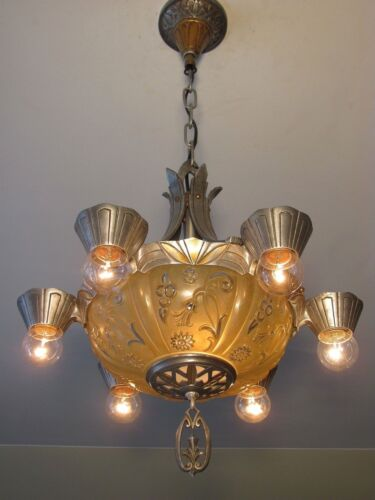 GORGEOUS! Antique LINCOLN Polished Aluminium Slip Shade Light Fixture - RESTORED