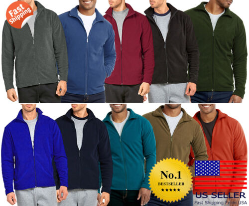 Mens Polar Fleece Long Sleeve Full Zipper Zip Up Jacket Solid Soft Plain Winter