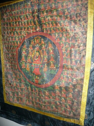 ANTIQUE VINTG TIBETAN BUDDHIST FIGURES PAINTED THANGKA TANKA PRAYER SCROLL RARE
