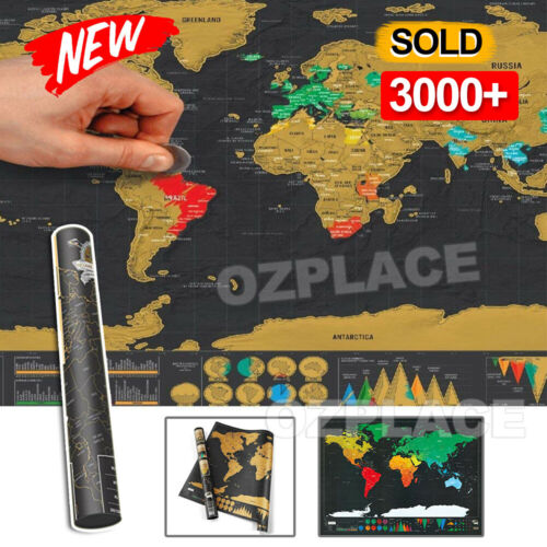 Deluxe Large Scratch Off World Map Personalized Travel Poster Travel Atlas Decor