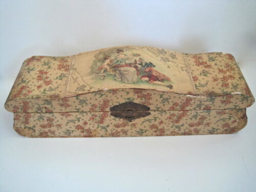Antique Lacquered Wood Chest Jewelry Box Victorian Colonial Courting Couple
