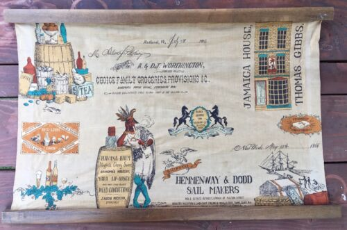 Vintage Fabric Tapesty: Merchants Row, Grocery, Tobacco, Indian, (Steampunk) 50s