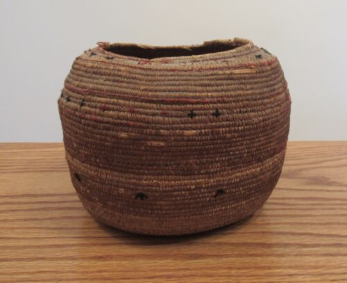 Antique finely woven basket with black & red thread designs 7x6x5