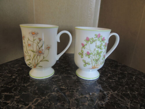 St of 2-Bone China- 4 1/2 Tall- Floral Tea Cups- JAPAN