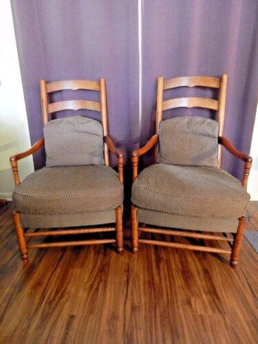 """VINTAGE HICKORY CHAIR CO. PAIR OF 'AMERICAN DIGEST""""  DISTRESSES CHERRY CHAIRS"""