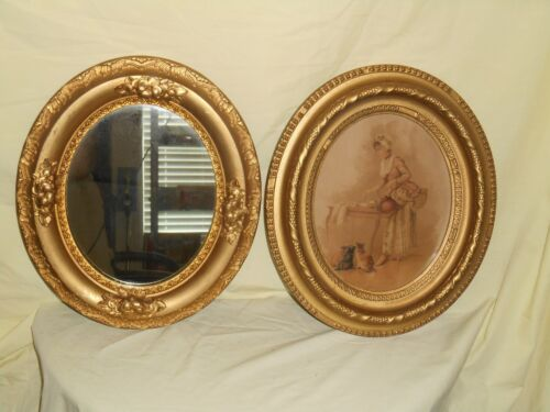Antique Victorian GOLD OVAL MIRROR & PICTURE FRAME  14''BY 12''  8'' BY 10'' INS