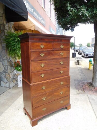 Grand  Mahogany English Chippendale Chest on Chest With Bracket Feet 18thc