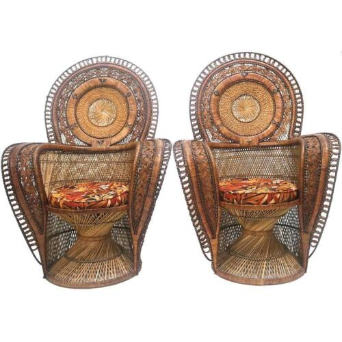 Exotic Wicker Throne Peacock Chairs Very Rare, Medallion Back, Hollywood Glam