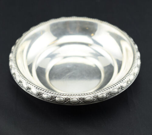 Frank LaPierre Sterling Silver Bowl Dish Beaded Floral Rim 110A