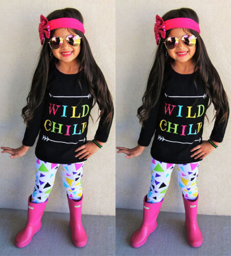 Toddler Kids Baby Girls T-shirt Tops Pants Leggings Headband Clothes Outfit Set