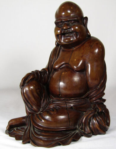 CHINESE 18TH/19TH C. BOXWOOD CARVED BUDDHA, SIGNED, LARGE, GREAT PATINA