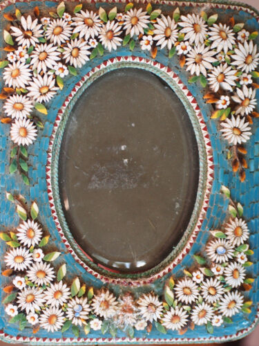 """Large Antique Micro Mosaic Turquoise Daisy Raised Flowers Picture Frame Italy 5"""""""