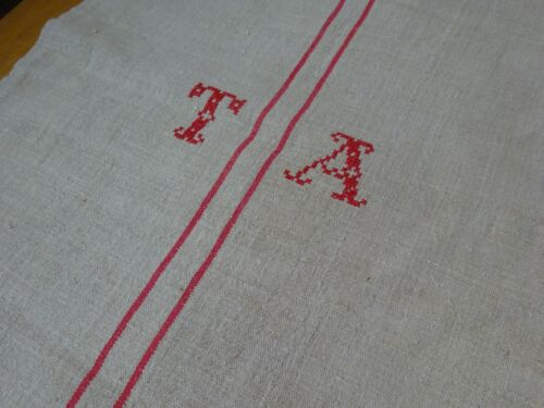 Antique European Feed Sack GRAIN SACK TA Monogram # 9182