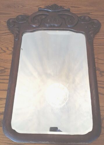 Vintage Hall Mirror Wood Frame With Ornate Carved Top