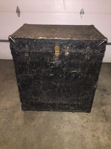 Vintage The Leatheroid MFG. Antique Wheeled Steamer Trunk. 1800's