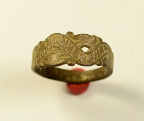 "VERY RARE MEDIEVAL BETROTHAL BRONZE RING WITH ""BE TRUE TO ME"" - WEARABLE"
