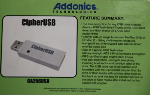 Addonics CA256USB Pocket USB Cipher security Pass-Through