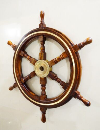 "Antique Wooden Maritime Decor 30"" Captains Ship wheel Wall Hanging Home Decor"