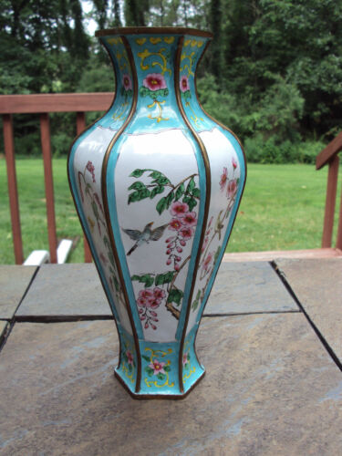 Antique / Vintage Brass and Enamal Oriental Vase
