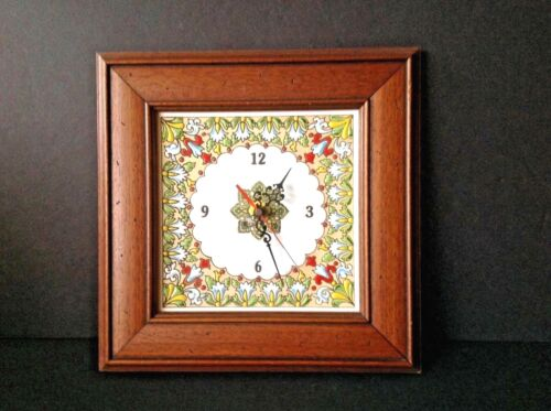 Vintage Spanish/Spain Wall Clock Hand-painted Barcelona Tile Framed