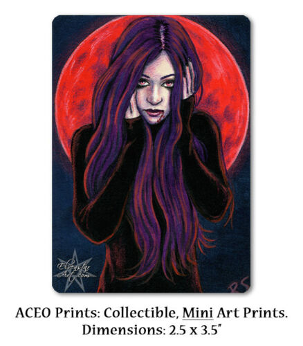 ACEO LE PRINT Gothic Halloween Vampire Red Blood Moon Full Moon Purple Hair ATC