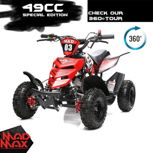 Red 49cc Mini Atv Quad Bike Kids 4 Wheeler Dirt Buggy Pocket Bike