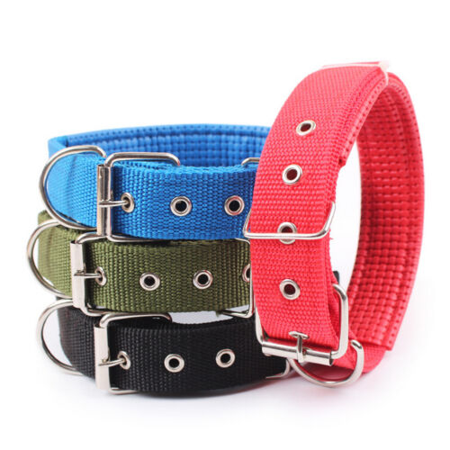Dog Collar Adjustable Neck Strap for Large Medium Small Pet Dog Pure Color NEW