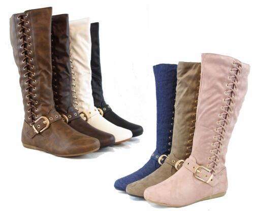 New Design Women Winter Fashion Side-Tie Up Boots Low Knee High Golden Buckle