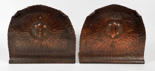 ANTIQUE ARTS CRAFTS HAMMERED COPPER BOOKENDS MISSION CRAFTSMAN EARLY CALIFORNIA
